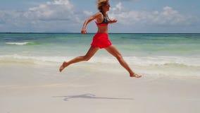 Seychelles jumper woman stock video footage