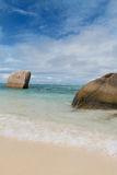 Seychelles. La Digue island. Seychelles seascape. Granite stones and ocean. Anse d'Argent Stock Photo