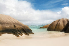 Seychelles. La Digue island. Seychelles seascape. Granite stones and ocean. Anse d'Argent Royalty Free Stock Photography