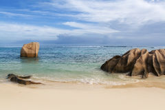 Seychelles. La Digue island. Seychelles seascape. Granite stones and ocean. Anse d'Argent Royalty Free Stock Photo