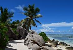 Seychelles. La Digue Island. Picturesque beach Anse Source d`Argent stock photography