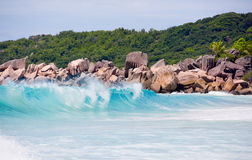 Seychelles, LaDigue Island beach, wild granite rocks and wavy sea Royalty Free Stock Image