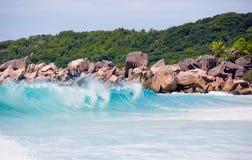 Seychelles, LaDigue Island beach, wild granite rocks and wavy sea Royalty Free Stock Image