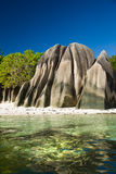 Seychelles, LaDigue island, tropical beach Royalty Free Stock Photos