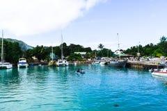 Seychelles, los angeles Digue - 14 2016 Czerwiec Schronienie w wczesnym poranku obraz stock