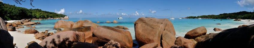 Seychelles paradise anse Lazio wide panorama stock images