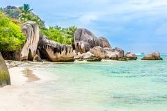 Seychelles, Paradise beach. La Digue at Anse Lazio, Source d'A. Rgent Royalty Free Stock Photos