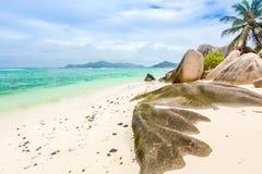 Seychelles, Paradise beach. La Digue at Anse Lazio, Source d'A. Rgent Stock Image