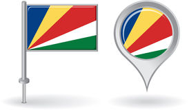 Seychelles pin icon and map pointer flag. Vector Royalty Free Stock Photo