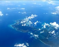 Seychelles from the plane window. Beautiful view seychelles from the plane window Royalty Free Stock Photo