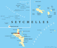 Seychelles Political Map Royalty Free Stock Images
