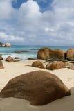 Seychelles. Praslin island. Seychelles seascape. Anse Lacio. Stones, water and sky Royalty Free Stock Image