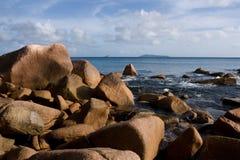 Seychelles. Praslin island. Seychelles seascape. Anse Lacio. Stones beach Royalty Free Stock Images