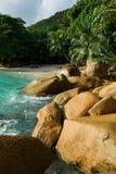Seychelles. Praslin island. Seychelles seascape. Anse Lacio. Stones beach Royalty Free Stock Photos
