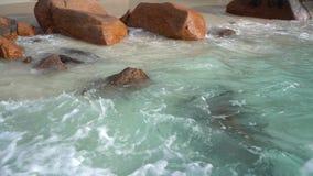 Seychelles Praslin wyspa Fale staczają się na dużych kamieniach Tropikalny wyspa luksusu wakacje Turystyka, relaksuje, być na wak zbiory