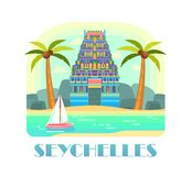Seychelles resort with beach and ocean. Seychelles republic advertising poster. African resort with beach and castle, coconuts on palms, ocean with yacht or ship Royalty Free Stock Image