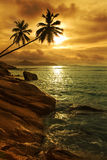 Seychelles seascape. Sundown on indian ocean. La Digue island Royalty Free Stock Photo