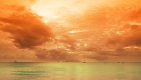 Seychelles seascape. Sundown on indian ocean. Mahe island Stock Images