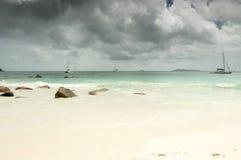 Seychelles seascape. Anse Lazio beach, Praslin Island, Seychelles. Grey day Royalty Free Stock Photos
