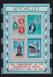 Seychelles stamps. 25th. Anniversary of the coronation  of Queen Elizabeth II, June 2nd. 1953 Royalty Free Stock Photography