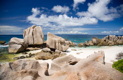 Seychelles, tropical beach, ocean and horizon. Stock Images