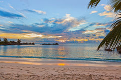Seychelles tropical beach at sunset Stock Photography