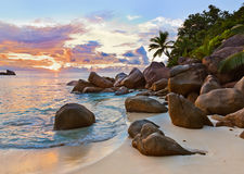 Seychelles tropical beach at sunset Royalty Free Stock Images