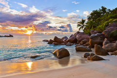 Seychelles tropical beach at sunset Royalty Free Stock Photo