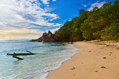 Seychelles tropical beach at sunset Royalty Free Stock Image