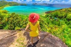 Seychelles tropikalny luksusowy miejsce przeznaczenia obrazy royalty free