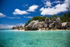 Seychelles, typical rocks and tropical view of an island Stock Photos