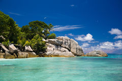 Seychelles, typical rocks and tropical view of an island Stock Image