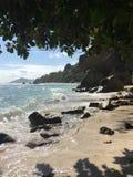 Seychelles. Waves crash along the Seychellois Stock Image