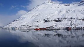 Seydisfjordur harbour. Reflection in Seydisfjördur harbour in spring on a beautifull day stock photos