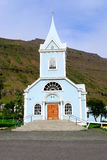 Seydisfjordur Church in Iceland. Church-coated sheet metal with a wooden door in Iceland Seydisfjordur Royalty Free Stock Image