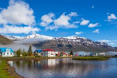 Seydisfjordur, Iceland. Scenic overlook of town of Seydisfjordur in Eastern Iceland and the fjord Stock Photos