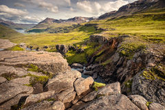 Seydisfjordur, Iceland - View down the river valley to the Seydi Royalty Free Stock Images