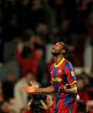 Seydou Keita of Barcelona. During a Spanish Cup match between FC Barcelona and Real Betis at the Nou Camp Stadium on January 12, 2011 in Barcelona, Spain Royalty Free Stock Images