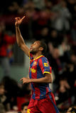 Seydou Keita of Barcelona. During a Spanish Cup match between FC Barcelona and Real Betis at the Nou Camp Stadium on January 12, 2011 in Barcelona, Spain Royalty Free Stock Photo
