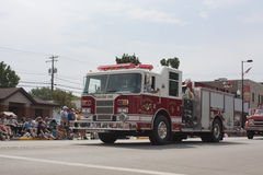 Seymour Fire Department Engine One Truck. SEYMOUR, WI - AUGUST 4: Seymour Fire Department Engine One Truck at the Annual Hamburger Festival Parade on August 4 stock image