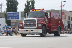 Seymour Rural Fire Department Truck in Parade. SEYMOUR, WI - AUGUST 4: Driving Seymour Rural Fire Department Truck at the Annual Hamburger Festival Parade on royalty free stock image