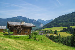 Seytroux village in the French Alps mountains. Region touristic Portes du Soleil,summer and winter attraction for many tourists who love hiking and skiing Royalty Free Stock Photo