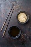 Sezamowy olej i ziarna dla zdrowego łasowanie chińczyka japończyka Zdjęcia Stock