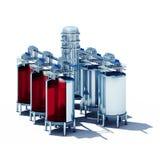 Sezione d'acciaio dei tini di fermentazione Fotografia Stock