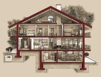 sezione 3d di una casa di campagna Fotografia Stock
