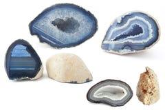 Sezione dei geodi bianchi e blu immagini stock