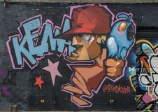 Sezione del murale di arte della parete in Ellum profondo, Dallas, il Texas fotografia stock libera da diritti