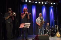 Sezione di Horn - Mike Goudreau e la banda di blu di Boppin al festival internazionale dei blu di Tremblant - 13 luglio 2018 Fotografie Stock