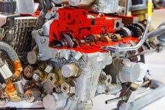 Sezione di un motore moderno in bianco e nero immagine stock
