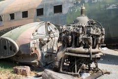 Sezione di vecchio motore dell'aeroplano fotografia stock libera da diritti